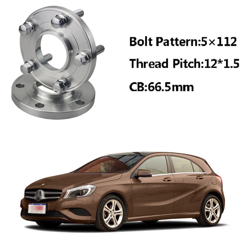 Hubs espaciadores de rueda centelleante 5x112 66.5CB M12 x 1,5, pernos para Benz Clase A W168 SLK R170/171 E Class W210 W214 Clase C W203 2 unidades
