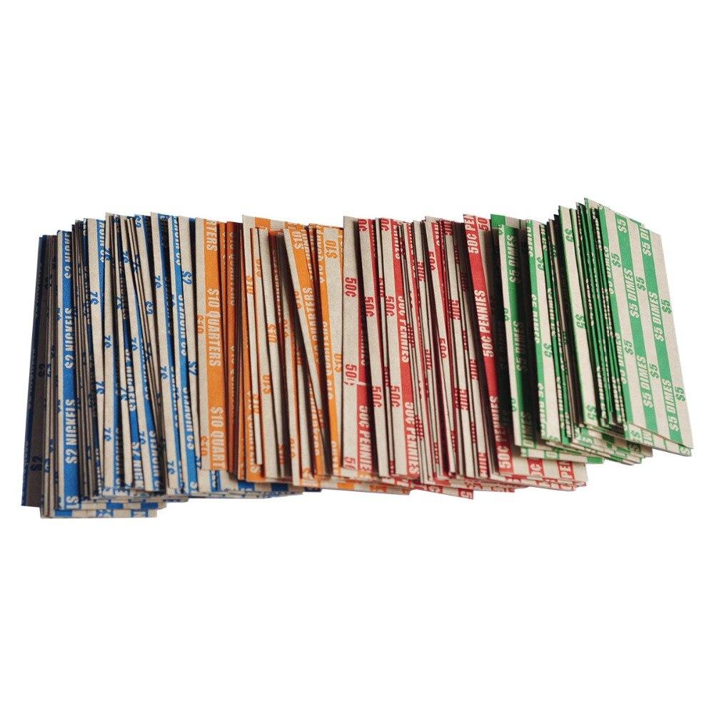 1000 Assorted Plano Pacote Listrado Coin Envoltórios, 250 de Cada Centavo, Níquel, Centavo e Quartos