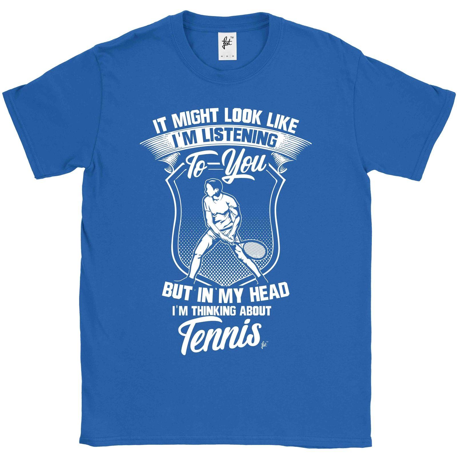 2019 moda venda quente olhar como eu estou ouvindo, mas eu estou pensando sobre tennisballen masculino camiseta camisa