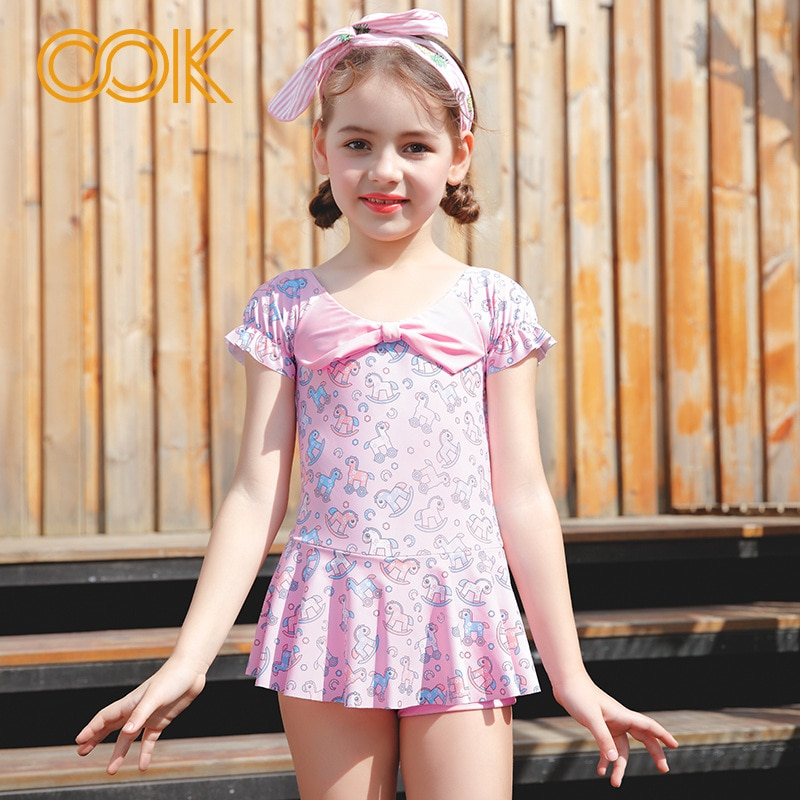 Детские купальные костюмы с бантиком, цельное розовое бикини с лошадкой для девочек, детская юбка, купальный костюм для девочек, детский лет...