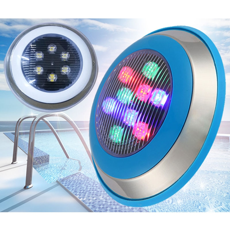 2pcs/lot 12V 24V LED Underwater Swimming Pool Lights 24W High Power Chip Surface Mounted IP68 For Fountain Color Changeable enlarge