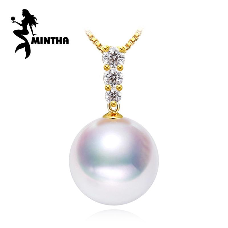 MINTHA 18K colgante de oro 8-9mm redondo de perlas de agua dulce collares y colgantes bohemios colgantes enviar Collar de plata s925