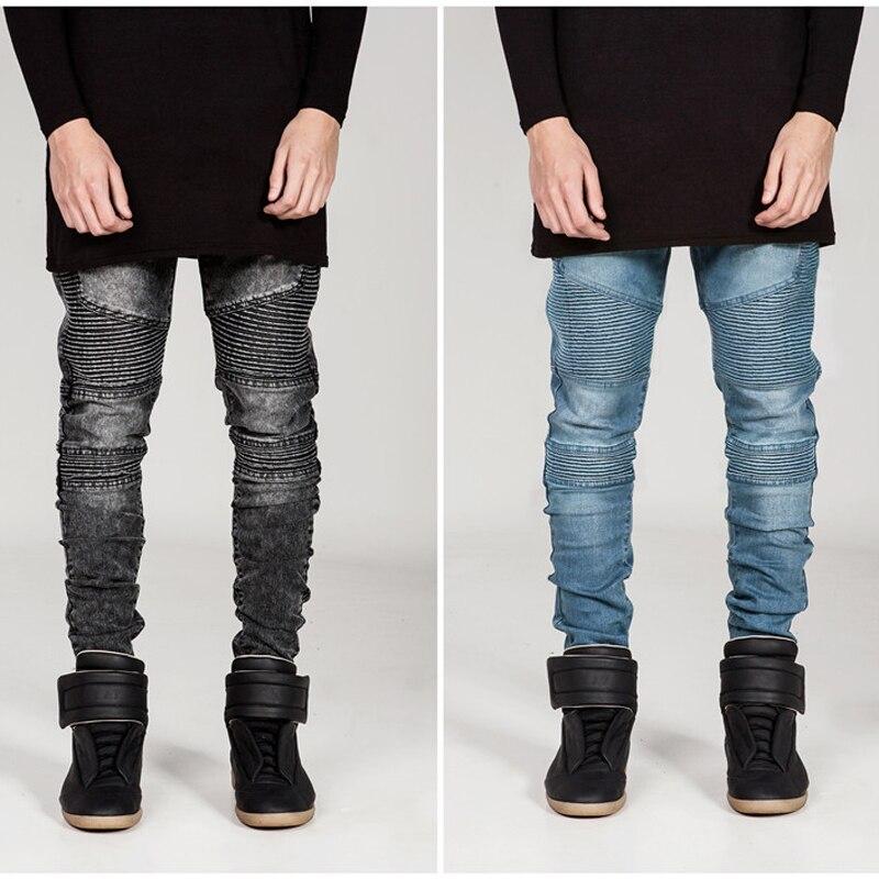 Байкерские джинсы, Брендовые мужские мотоциклетные джинсы, плиссированные узкие брюки-карандаш, высокоэластичные джинсы, европейские, аме...