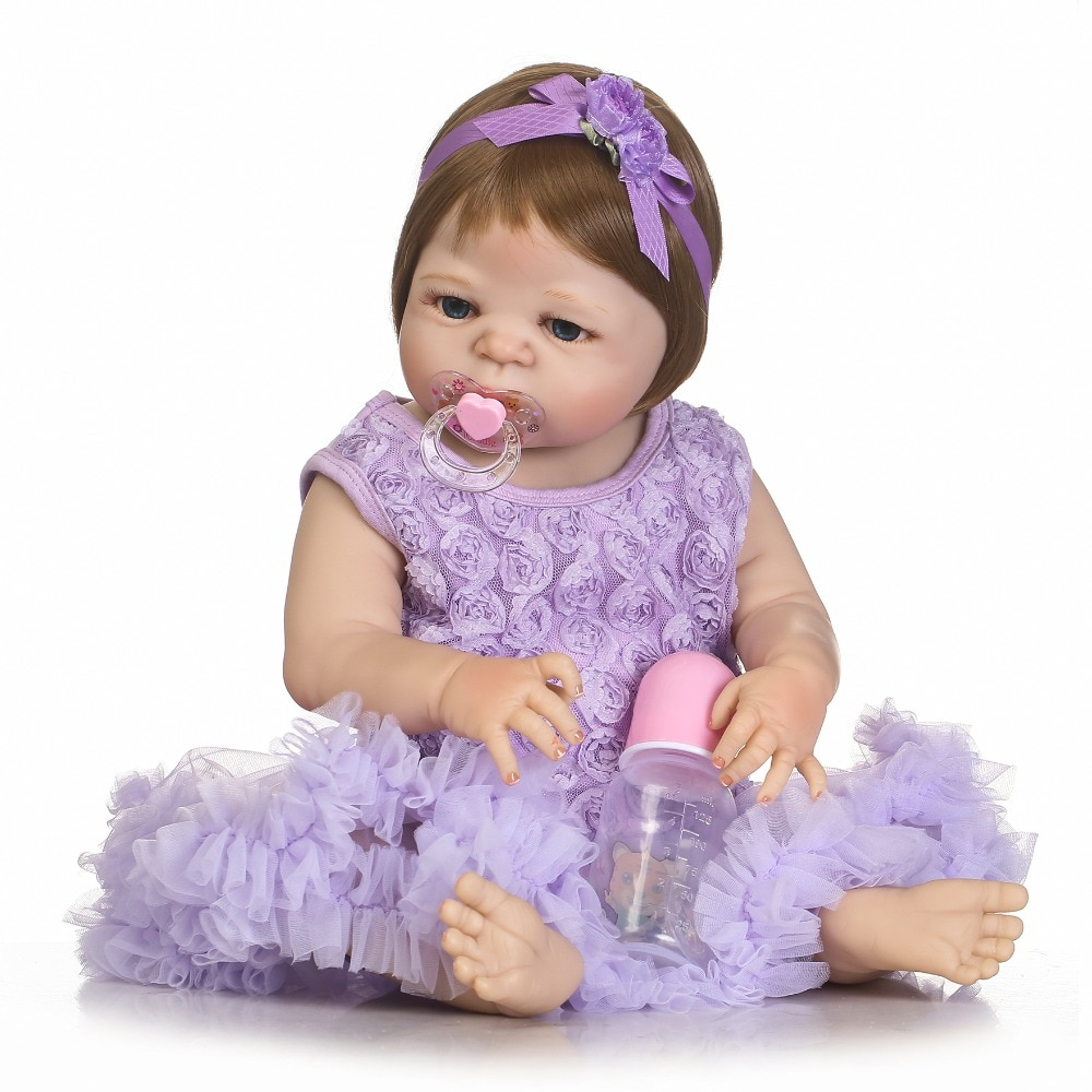 "Lovely real dolls reborn baby girl 22""55cm full silicone baby dolls creative children gift  bebe de silicone inteiro bonecas"