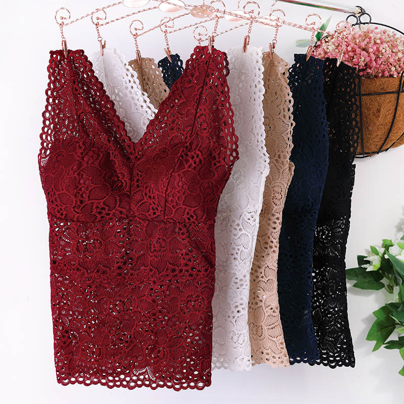 lady sexy lace cami bralette crochet floral cami padded tank top cropped top women top tees 2019 new fashion black Floral Cami Padded Tank Top Women's Bra Sexy Lace Cami Bralette Crochet Flower Bra Vest Bustier Crop Top