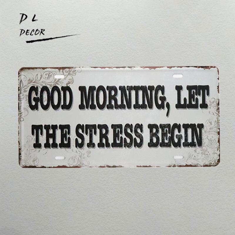 Dl-good morning vintage placa de matrícula de metal, decoración del hogar, accesorios, calcomanía de pared