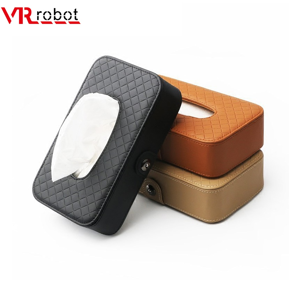 VR robot Universal Car Tissue Box Creative Leather Napkin Holder Box Back Seat Sun Visor Tissue Organizer for Car