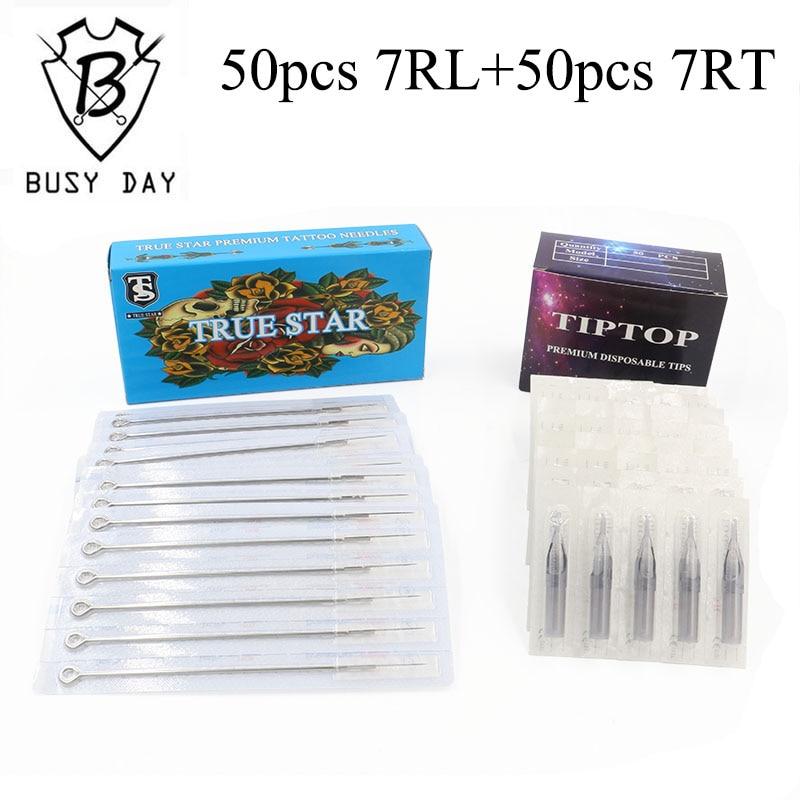 (7RL+7RT) 50pcs True star tattoo needles & TIP TOP tips for free shipping