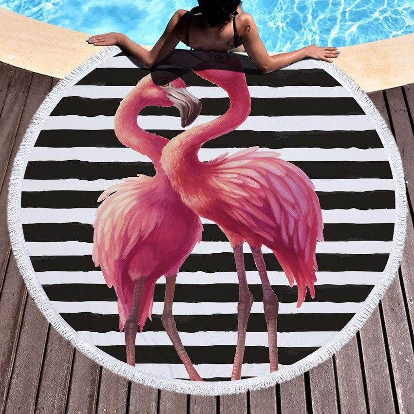 Пляжное полотенце с кисточкой Цветочный Фламинго подарок банное полотенце для душа для взрослых 500 г микрофибра 150 см коврик для пикника и йоги одеяло ковер