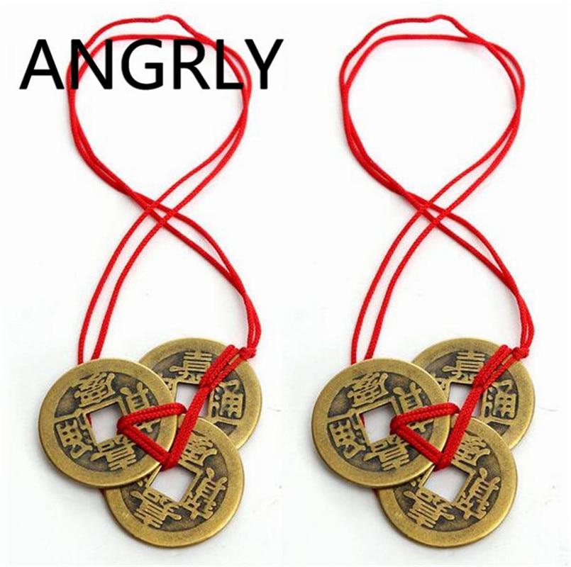 2 bolsas ANGRLY/6 uds feng shui chino monedas para la riqueza y el éxito 2 juegos de colección de dinero antiguo collar de cobre colección de arte