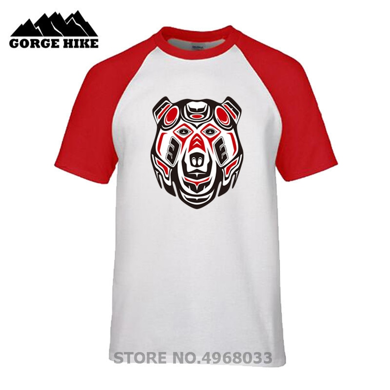 Divertida camiseta fresca de verano para hombre, estilo Haida, oso grizzly, ropa para adultos, venta al por mayor, Dropshipping, Camiseta de algodón orgánico de Boutique