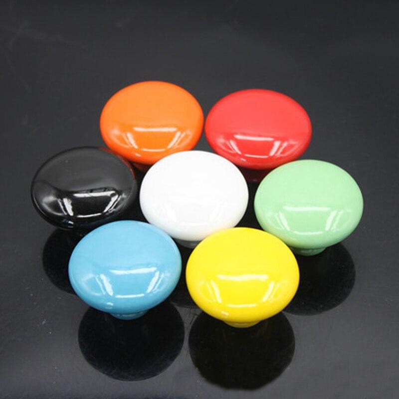 10 Uds. Manijas de cerámica de 39,5mm coloridas para puertas perillas de gabinete redondo tirador de armario de cajones perilla para muebles Color caramelo