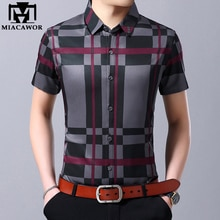 MIACAWOR New Brand Plaid Shirts Men Fashion Summer Short Sleeve Casual Shirt Men Slim Fit Chemise Homme Camisa Masculina C443