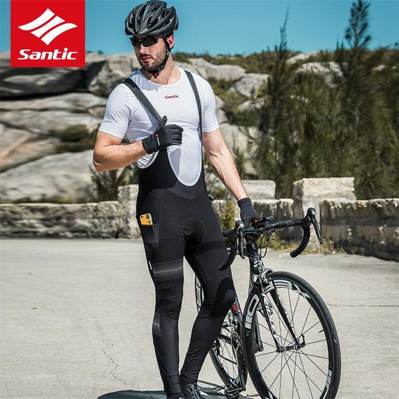 Santic-Pantalones largos de Ciclismo para hombre, medias térmicas de lana para bicicleta...