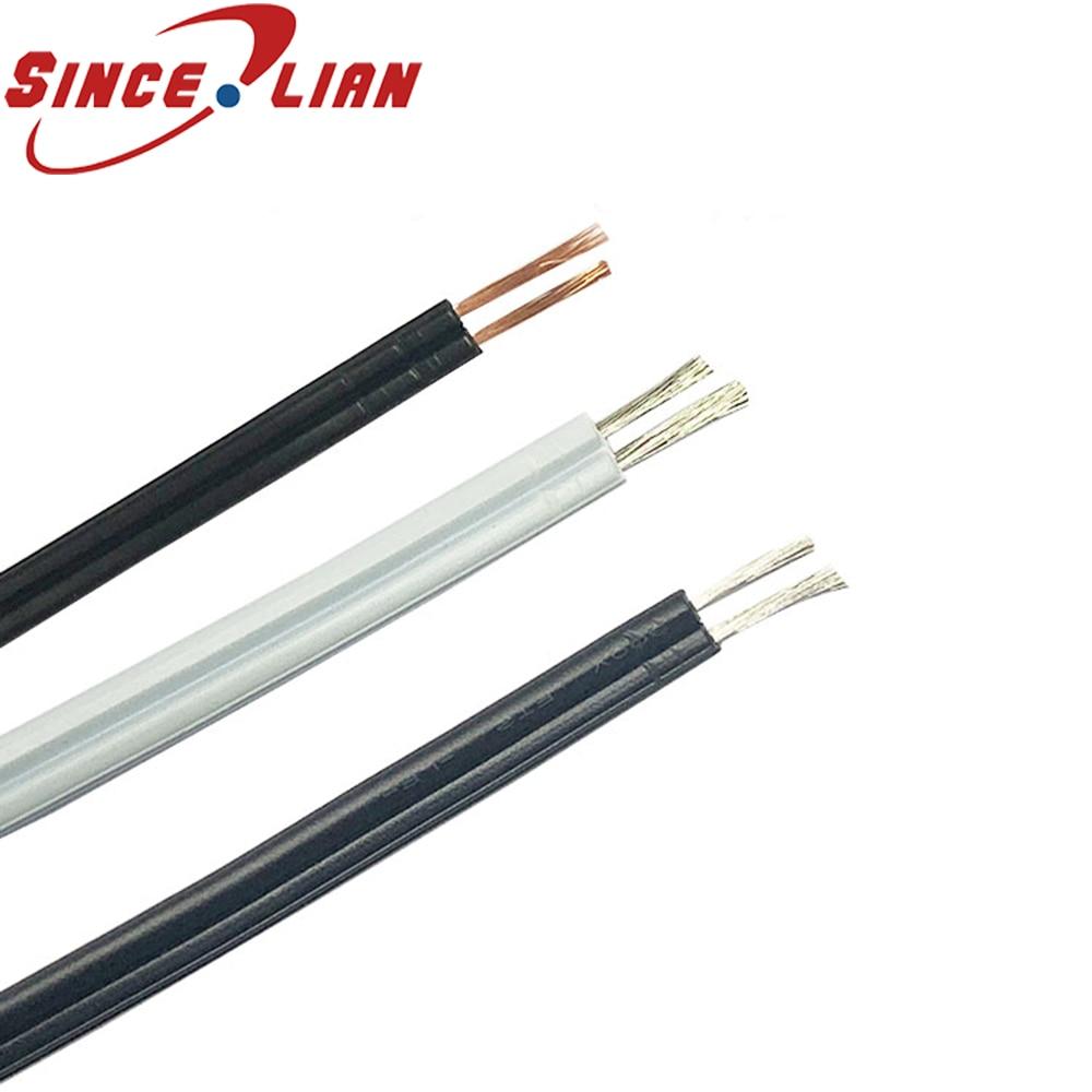 Cable doble paralelo de 10 metros/lote SPT-1 Cable de alimentación de línea paralelo de 20AWG Cable eléctrico negro cuadrado de 0,5 2 pines