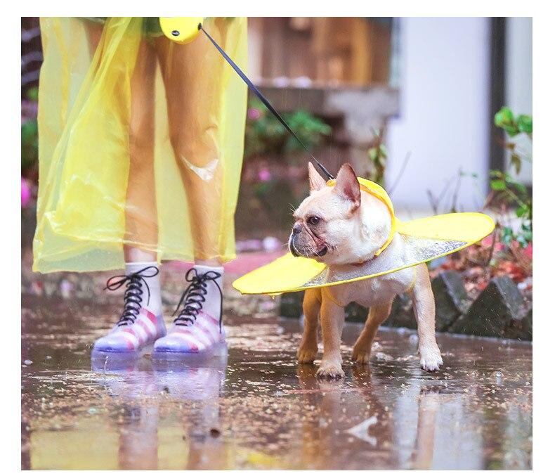 Free shipping Dog raincoat UFO Teddy clothes four feet waterproof cloak small dog puppy umbrella all-inclusive pet poncho