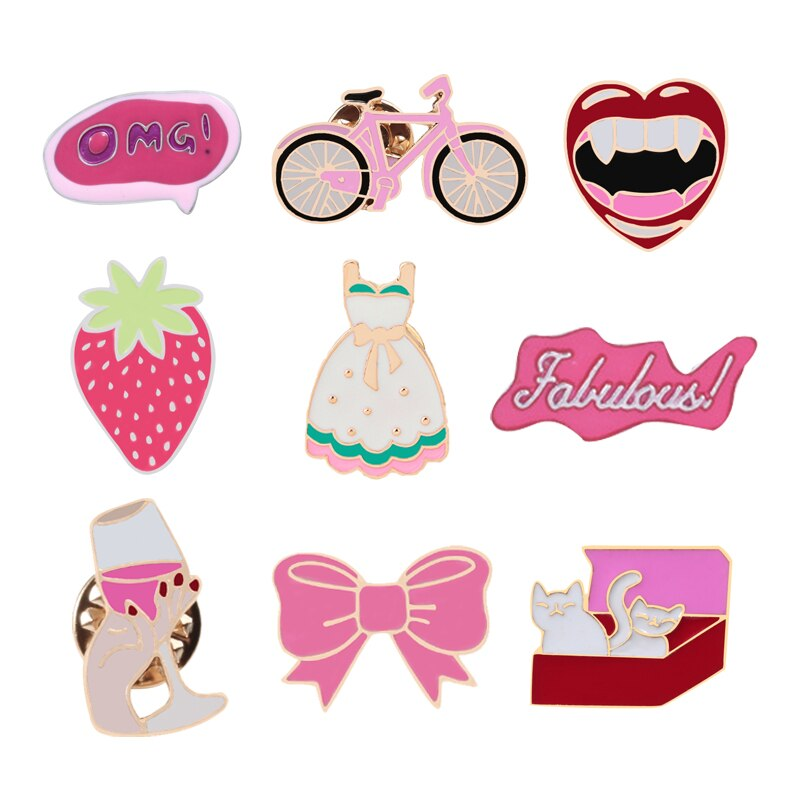 Cartoon Pink Style Enamel Pins Bike Lips Dress Bow Cat Brooches Lapel Pin Backpack Badge Corsage Collection Gift for Girl Women