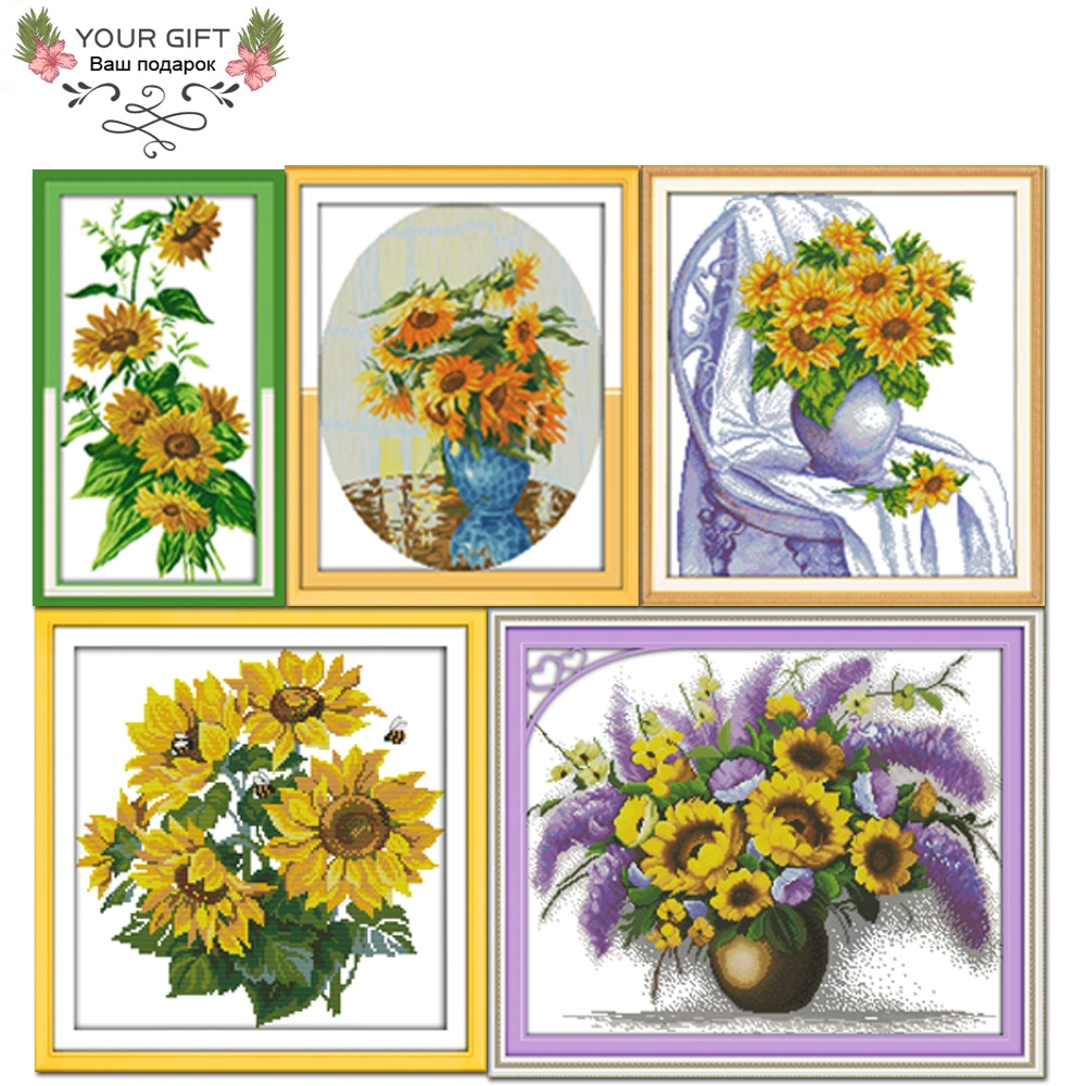 Joy Sunday H330 (4) H333H339H360 (2) H364 decoración del hogar silla florero de terciopelo de girasol Goldmine y kits de punto de cruz de girasoles