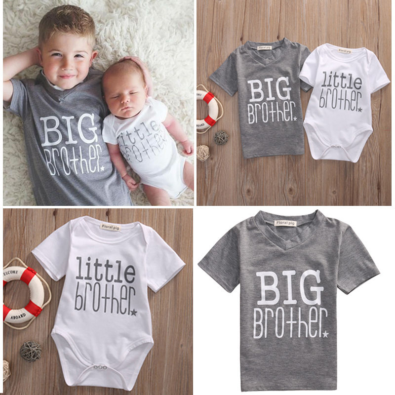 Drop Shipping 2017 Family Matching Clothes Little Brother Letter Cute Baby Boy Romper and Casual Big Brother Boys T-shirt Tops