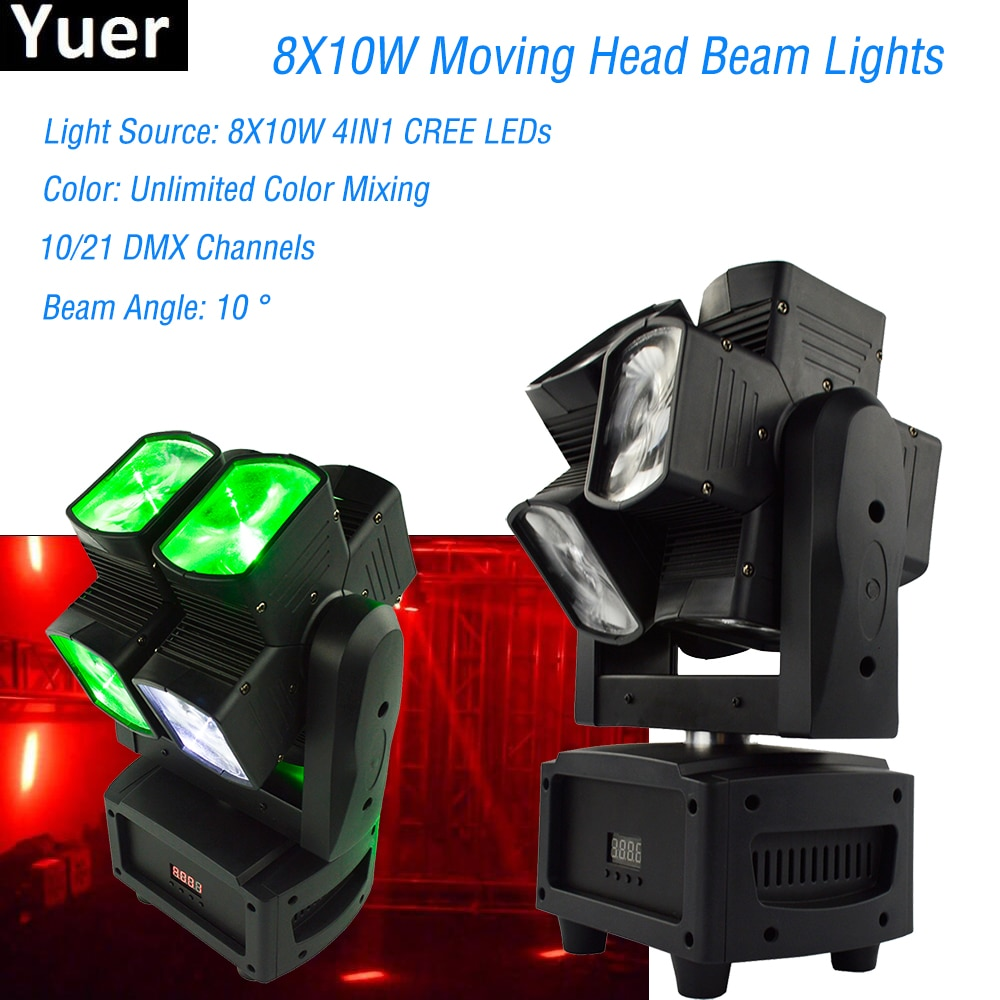 Newest8X10W RGBW 4IN1 Moving Head Beam Light For Disco DJ Party Wedding Bar Led Lamp Stage Effect Lights Double Beam Moving Head