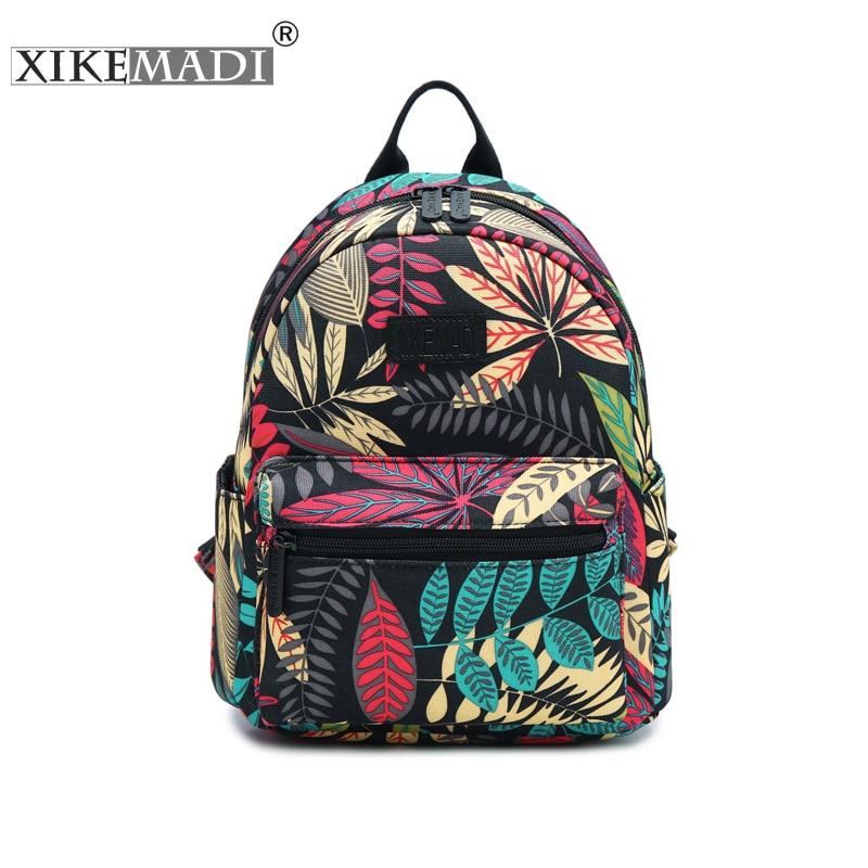 Mini Mochila de nailon impermeable con estampado para mujer, Mochila escolar para adolescentes, mochilas informales y duraderas para uso diario