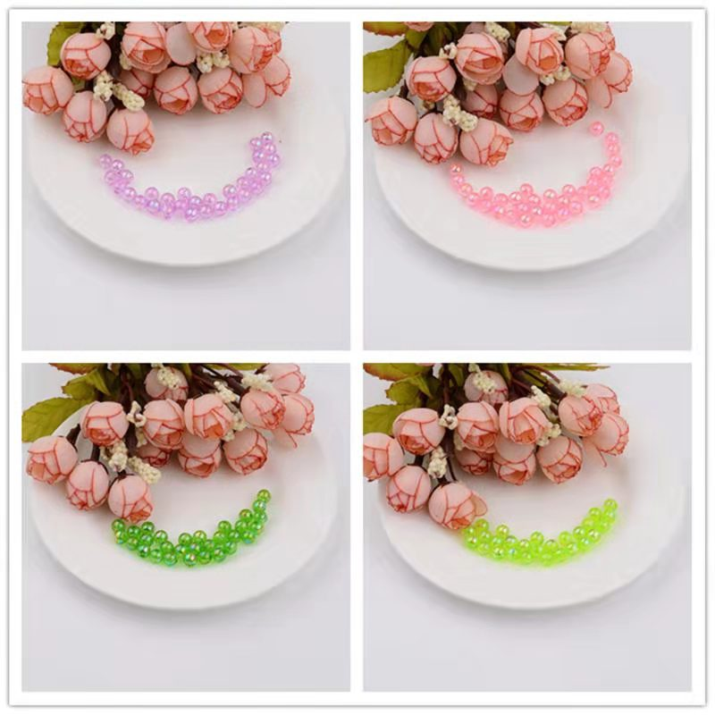 20pcs 8mm transparent beads magic color hand sewing beads diy bracelet knitting loose beads