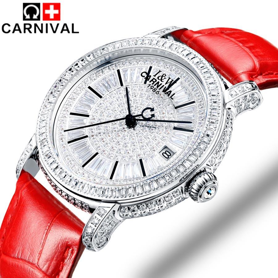 2018 carnaval montres mécaniques en cuir véritable mode loisirs dame horloge marque femmes montre bijoux de luxe cristal autrichien