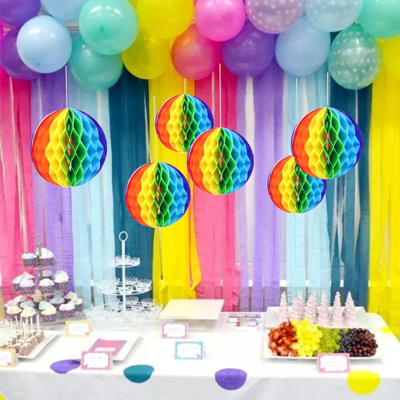Bola de nido de abeja Multicolor linterna de papel flores decoración de la boda Color tema niños cumpleaños decoración para fiesta de boda SD40