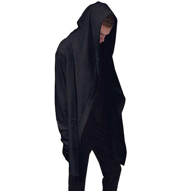 Moletom com capuz masculino com capuz com vestido preto hip hop mantle hoodies moda jaqueta manga longa manto casacos do homem outwear