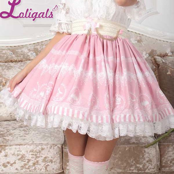 Rosa dulce Lolita candelabro de cristal impreso una línea falda para mujer envío gratis