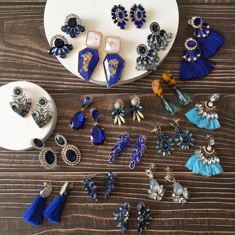 Ztech Neue Design Blau Kristall/Quaste/Harze Eearrings pendientes mujer moda 2020 Za Neue Große Aussage Großhandel Ohr zubehör