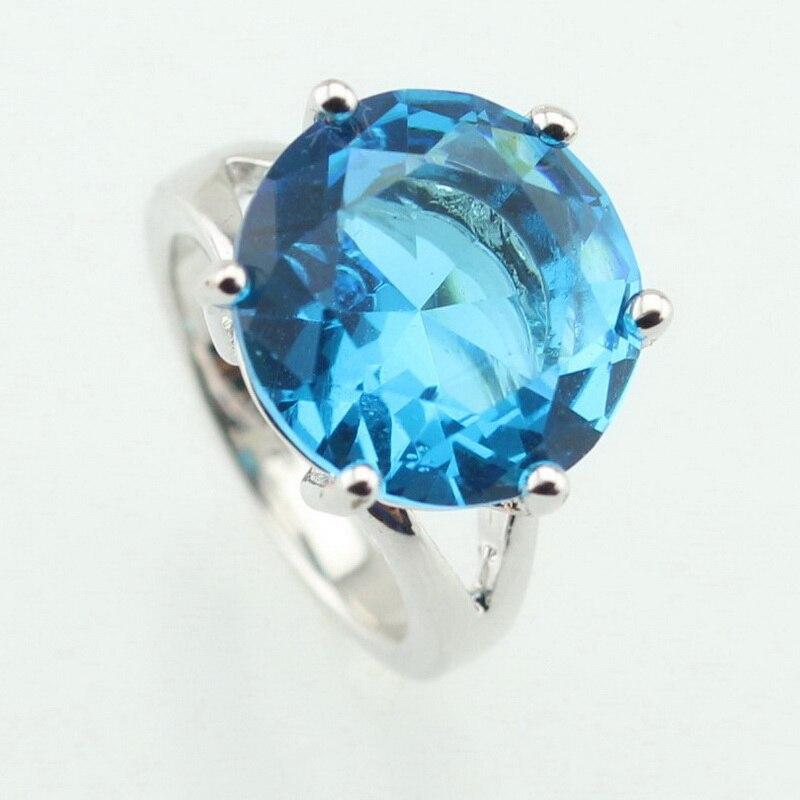 WPAITKYS moderna azul Semi-preciosas piedra Color plata anillo para mujer cautivadora joyas de cristal tamaño 6 7 8 9 10 caja de regalo gratis