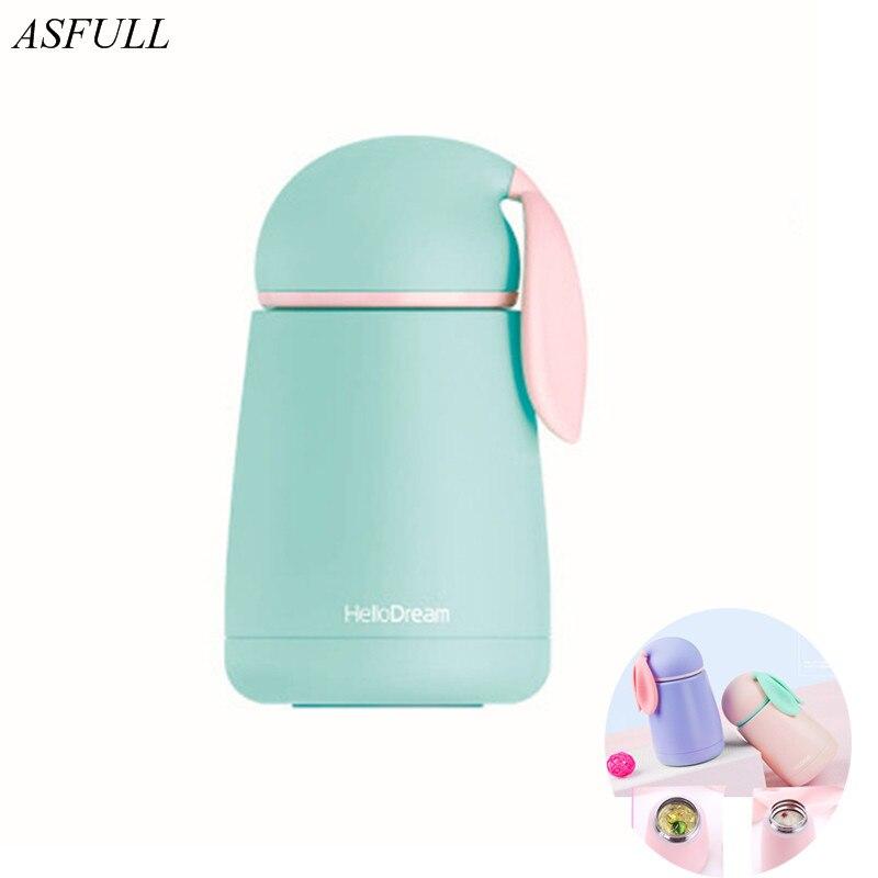 Taza Termo ASFULL con forma de conejo, botellas de agua para niños, termo de doble pared de acero inoxidable, funda rosa con tapa, termo de regalo