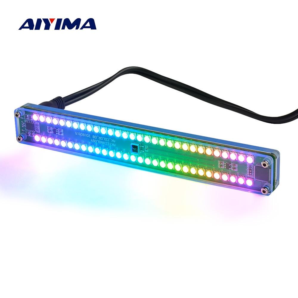 AIYIMA المزدوج 30 مستوى المؤشر الملونة الموسيقى الصوت الطيف مؤشر مكبر صوت استيريو VU متر قابل للتعديل سرعة الضوء مع AGC