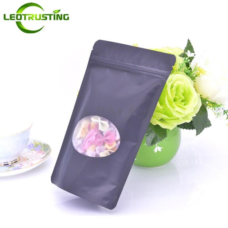 Leotrusting 50 Uds pie negro mate de papel de aluminio de la ventana bolsa doypack con cierre café Paquete de té bolsa de mano Spinner juguetes bolsa