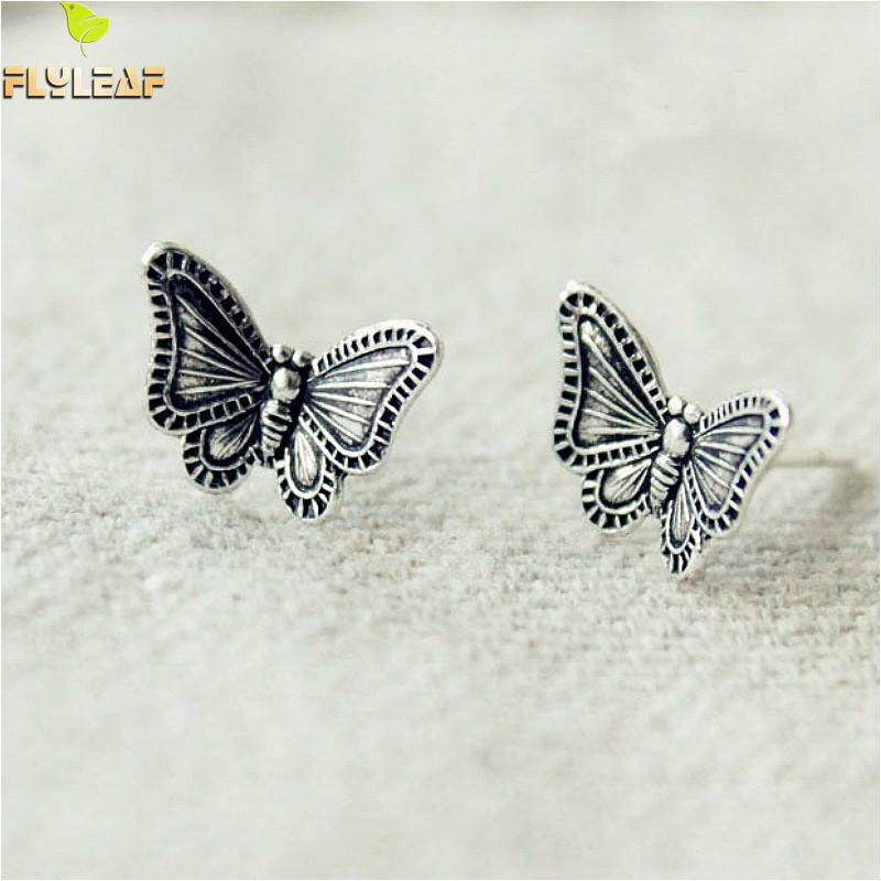 Flyleaf Vintage Butterfly Stud Earrings For Women 2018 New Do The Old 925 Sterling Silver Jewelry
