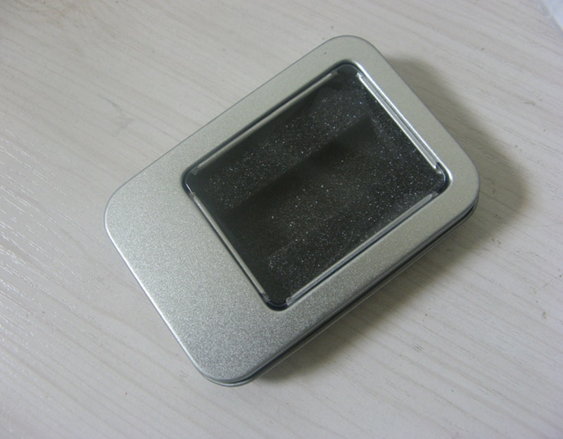5 stück Keine Logo Größe 90x60x18MM 3,54x2,37x0,71 zoll Rechteckige box mit fenster Metall verpackung Transparent geschenk zinn box