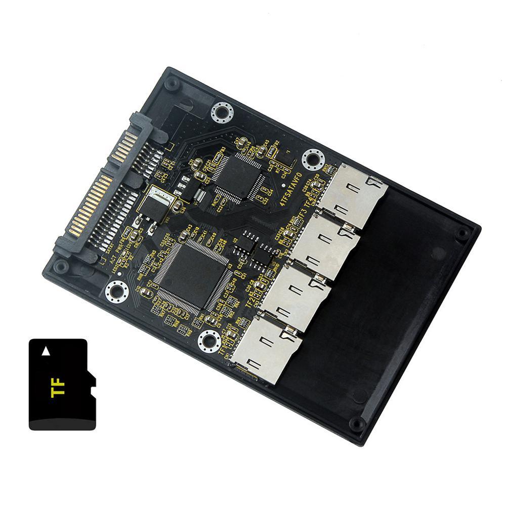 "Бесплатная доставка, новинка, 4 Micro SD TF карты на 22pin SATA адаптер, 2,5 ""Корпус для жесткого диска с RAID 0, мульти TF карты на SATA"