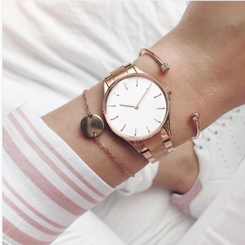 Relojes de pulsera Mavis Hare Beauty 34mm Hermosa rosa dorada para mujer con esfera blanca, relojes de pulsera de acero sin aguja para regalo de Navidad
