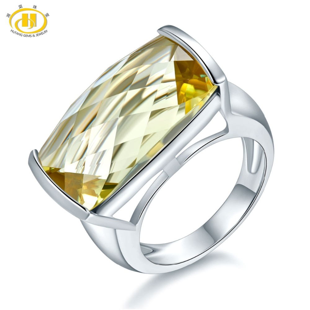 Get Hutang Natural 15ct Huge Lemon Citrine Rings 925 Sterling Silver Engagement Ring Gemstone Fine Jewelry for Women Best Gift