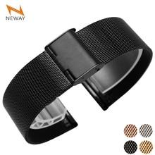 Bracelet de montre milanais en acier inoxydable en métal bracelet de montre boucle noir or Rose argent 12mm 14mm 16mm 18mm 20mm 22mm 24mm