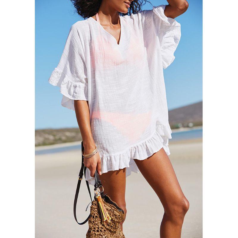 Womens Summer Slub Cotton Half Sleeves Mini Dress Solid Color Sexy Deep V-Neck Semi-Sheer Cover Up Ruffles Flounce Trim O