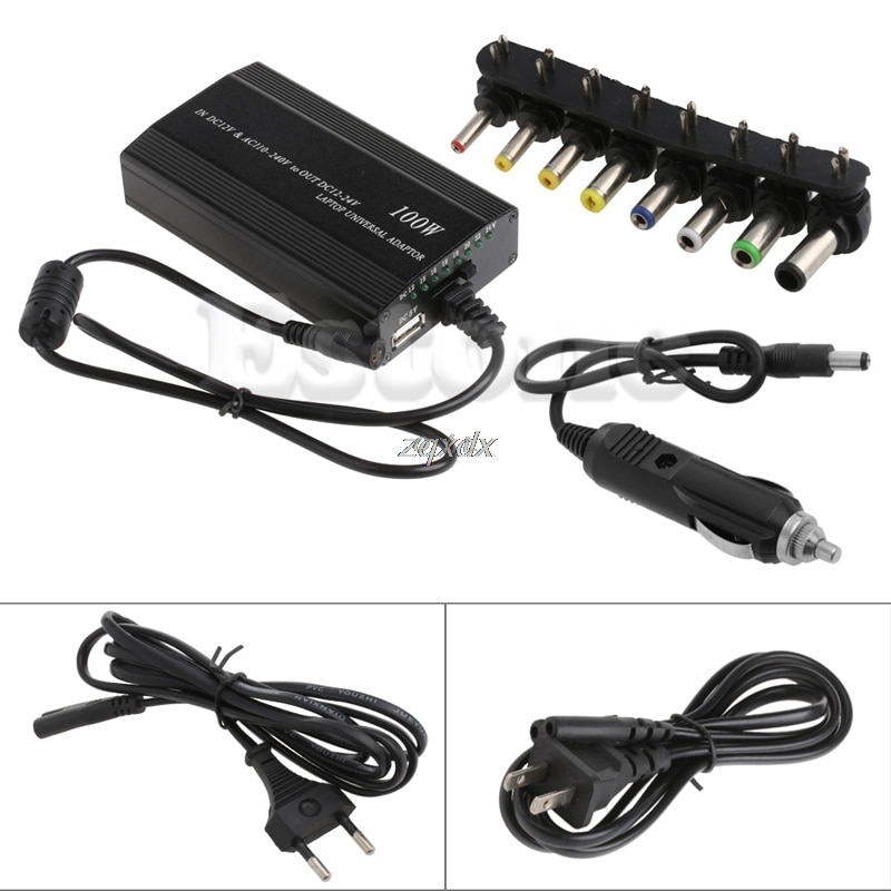 Универсальные 8xTip разъемы AC/DC в DC инвертор автомобильное зарядное устройство источник питания Adpter с автомобильным зарядным адаптером шнур для ноутбука штепсельная вилка европейского стандарта