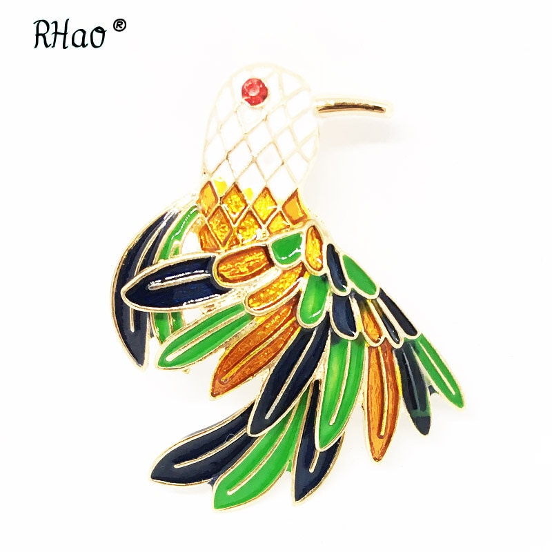 Cor Flying Birds Broches Esmalte Branco Cabeça Verde amarelo Penas de animais aves broche pinos para mulheres meninas lady jóias