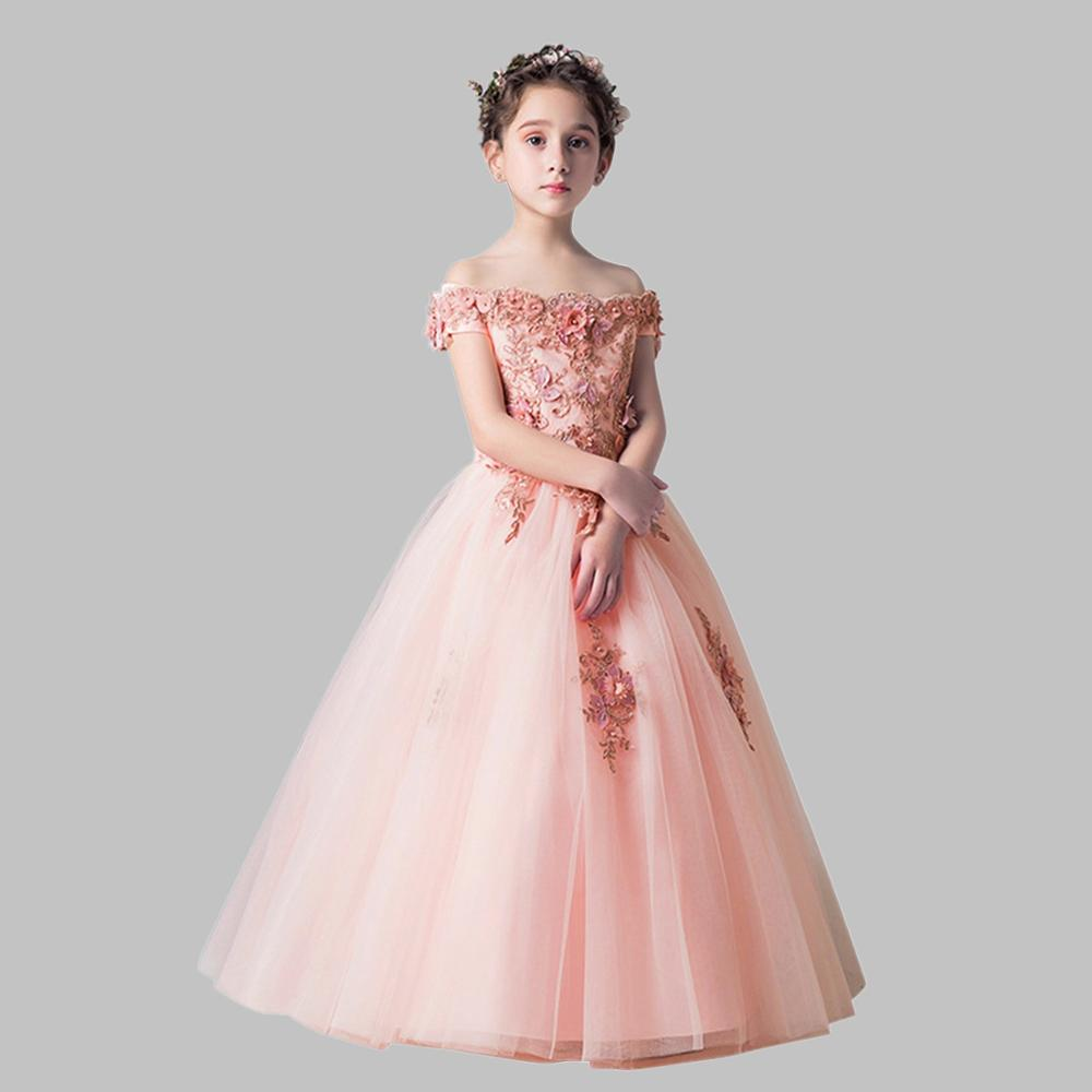 new arrival princess short sleeves lace flower girl dresses 2019 pink appliqued ball gowns for girls first communion dresses Princess Ball Gown Flower Girl Dresses 2019 Beading Appliqued Pageant Dresses For Girls First Communion Dresses Kids Dresses