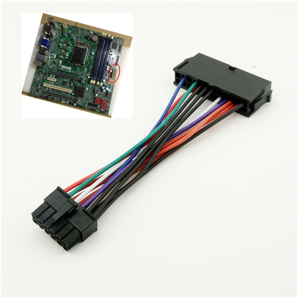 10pcs ATX 24 Pin to 12 Pin PSU Mail Power Supply Cable Cord For Acer Q87H3-AM Q87H3