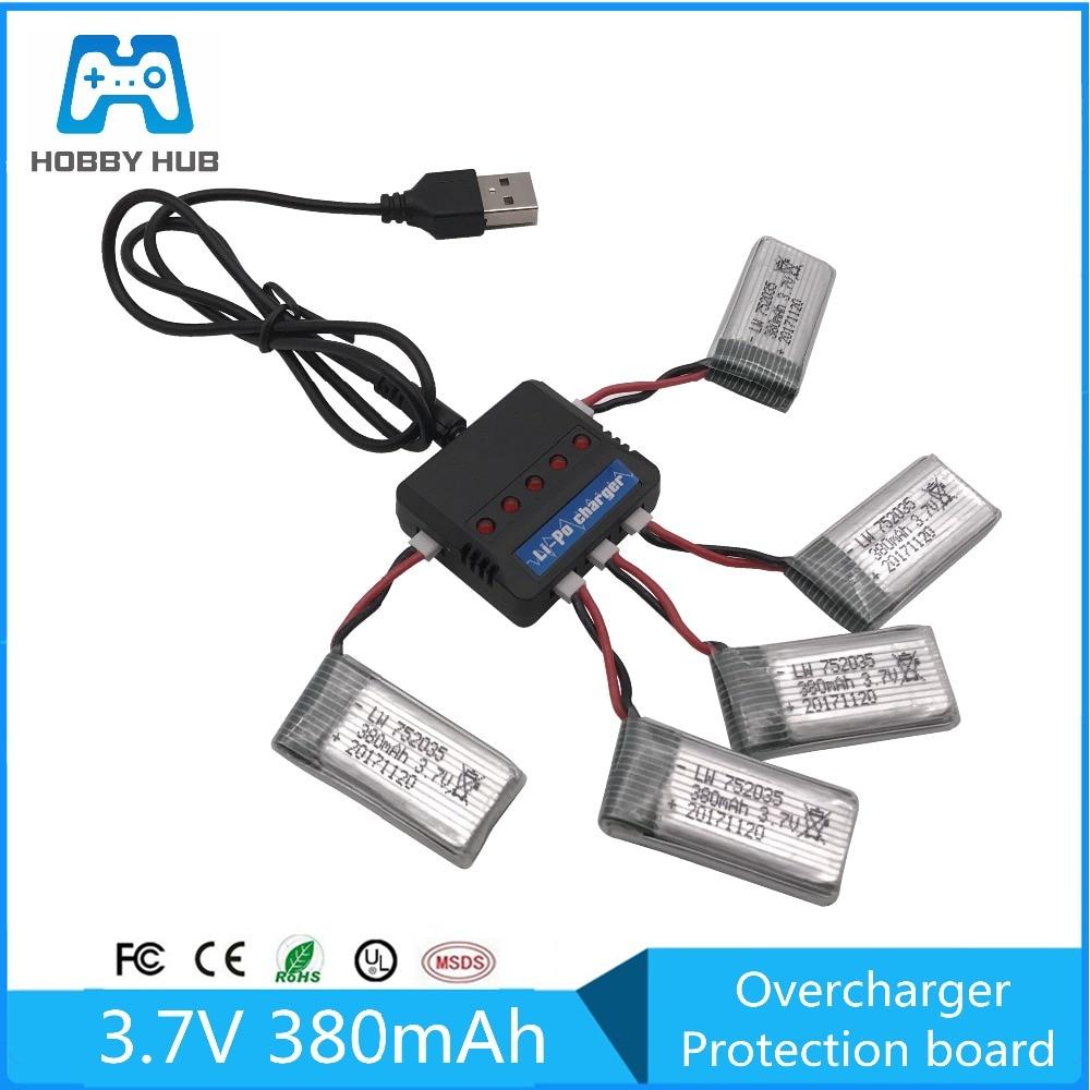 Hobby hub 3,7 V 380mAh Lipo батарея + USB зарядное устройство запасные части для Hubsan X4 H107 H107L H107D JD385 JD388 батареи