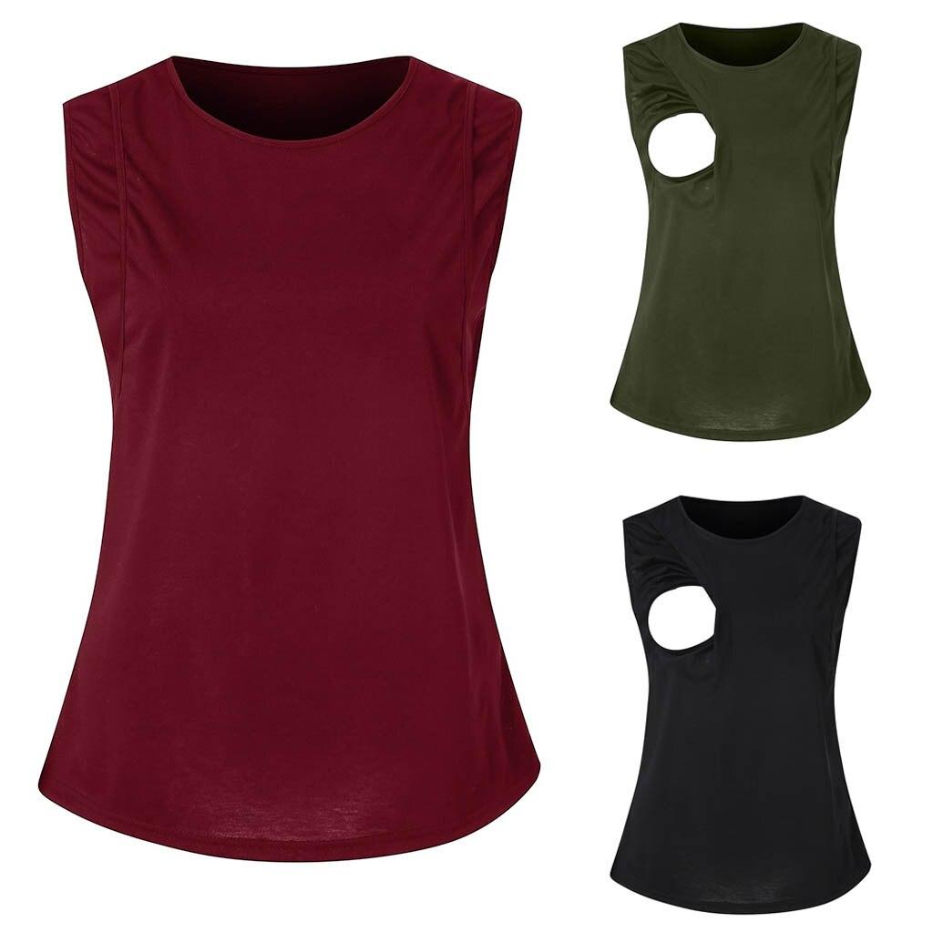 Womens Maternity Sleeveless Nursing Side Open Breastfeeding Summer Tank Tops ropa embarazada sukienki ciazowe vestido