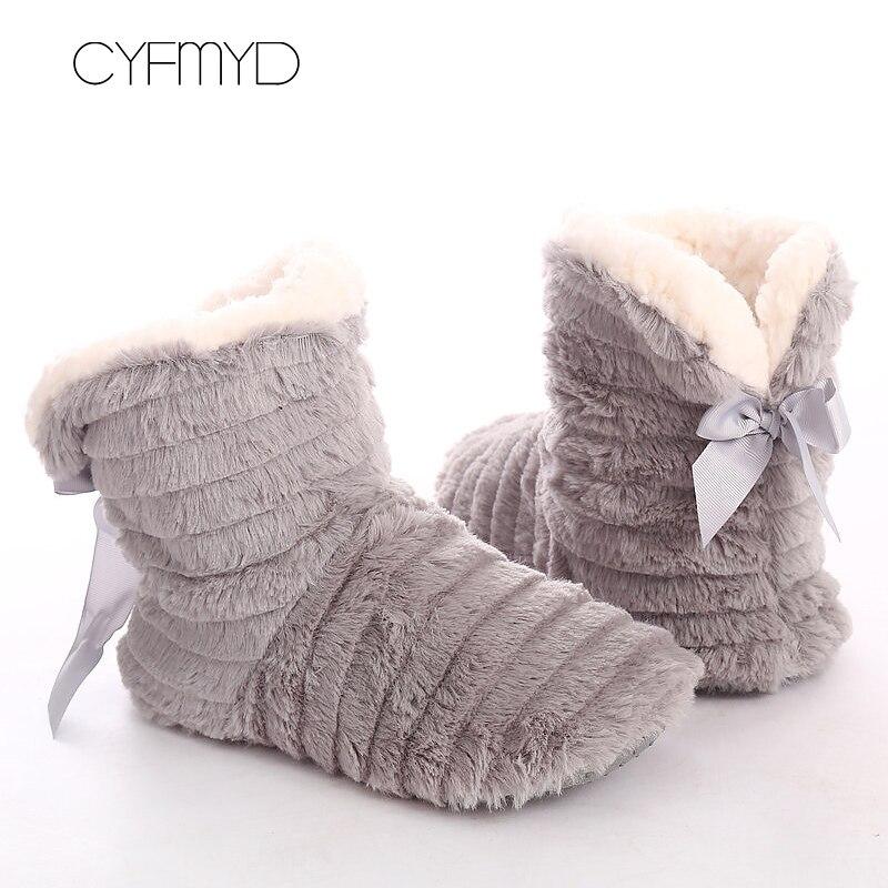 Mulheres chinelos de pele de inverno borboleta nó de pelúcia manter quente interior chinelos de borracha casa aconchegante sapatos para meninas antiderrapante