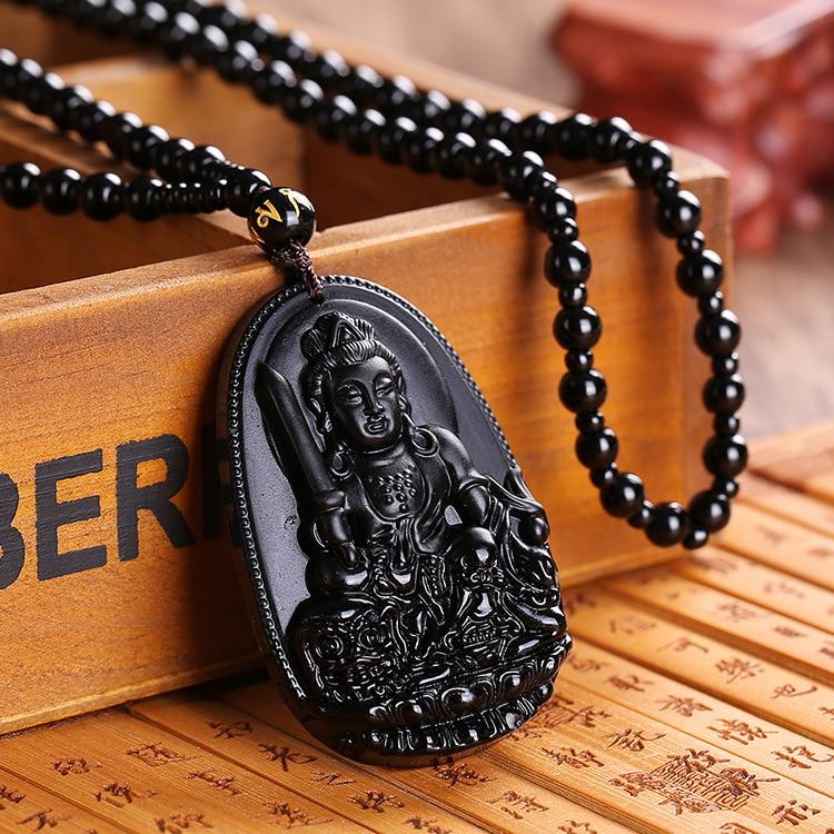 Ожерелье с подвеской из обсидиана, Будды, лисы, высокое качество